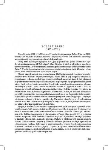 Robert Blinc (1933.-2011.) : [nekrolog] / Slaven Barišić