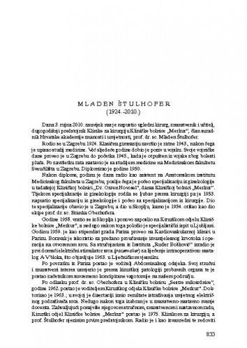 Mladen Štulhofer (1924.-2010.) : [nekrolog] / Božidar Šebečić