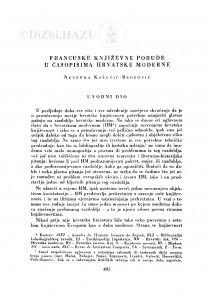 Francuske književne pobude u časopisima hrvatske moderne / N. Košutić-Brozović