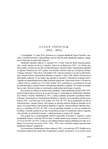 Eugen Topolnik (1912.-2014.) : [nekrolog] / Slavko Cvetnić