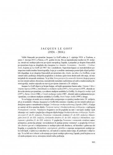 Jacques Le Goff (1924.-2014.) : [nekrolog] / Tomislav Raukar