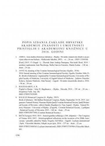 Popis izdanja Zaklade Hrvatske akademije znanosti i umjetnosti pristiglih u Akademijinu knjižnicu u 2016. godini