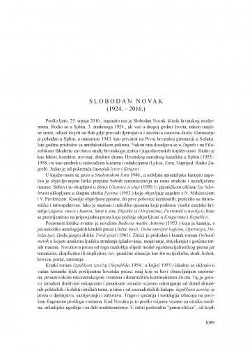 Slobodan Novak (1924.-2016.) : [nekrolog] / Krešimir Nemec