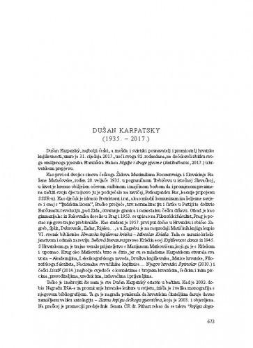 Dušan Karpatsky (1935.-2017.) : [nekrolog] / Dubravka Sesar