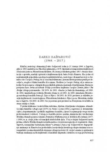 Darko Gašparović (1944.-2017.) : [nekrolog] / Boris Senker