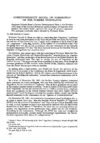 Correspondents' Agora : UN membership of the Former Yugoslavia / Vladimir-Djuro Degan