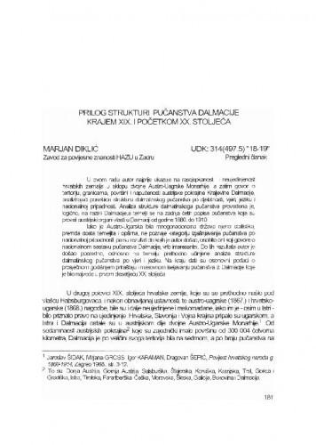 Prilog strukturi pučanstva Dalmacije krajem XIX. i početkom XX. stoljeća / Marjan Diklić