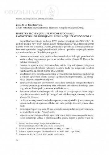 Iskustva Slovenije u upravnom sudovanju i konceptualne promjene u regulaciji upravnog spora : [uvodno izlaganje] / Anton (Tone) Jerovšek ; prevela sa slovenskoga Sanja Slukan-Marković ; stručna redakcija prijevoda Ivan Koprić