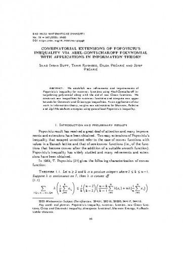 Combinatorial extensions of Popoviciu's inequality via Abel-Gontscharoff polynomial with applications in information theory / Saad Ihsan Butt, Tahir Rasheed, Ðilda Pečarić and Josip Pečarić