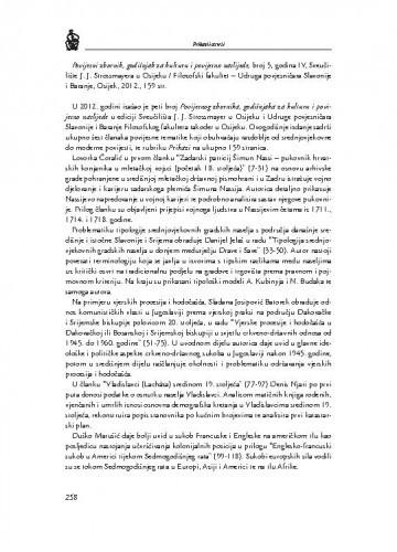 Povijesni zbornik, godišnjak za kulturu i povijesno naslijeđe, broj 5, godina IV, Sveučilište J. J. Strossmayera u Osijeku / Filozofski fakultet-Udruga povjesničara Slavonije i Baranje, Osijek, 2012. : [prikaz] / Ana Biočić
