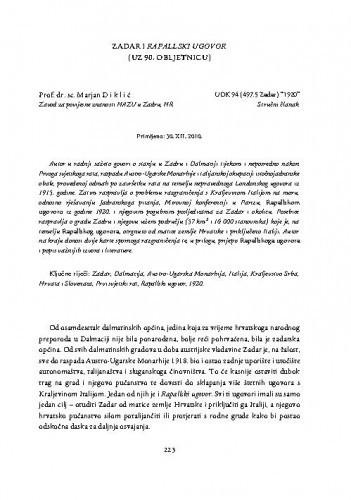 Zadar i Rapallski ugovor (uz 90. obljetnicu) / Marjan Diklić