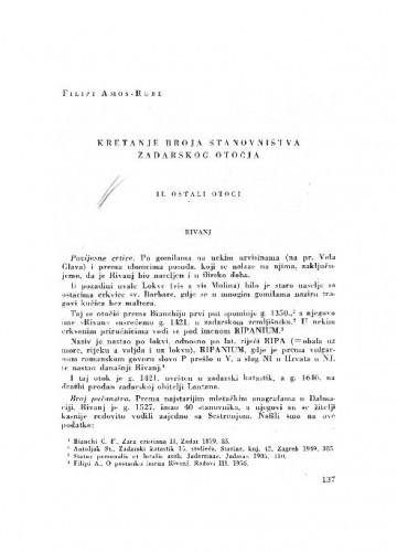 Kretanje broja stanovništva Zadarskog otočja : II. Ostali otoci / Amos-Rube Filipi