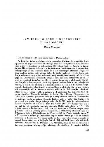 Izvještaj o radu u Dubrovniku u 1965. godini / M. Deanović