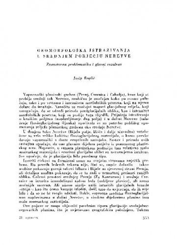 Geomorfološka istraživanja u srednjem porječju Neretve / J. Roglić