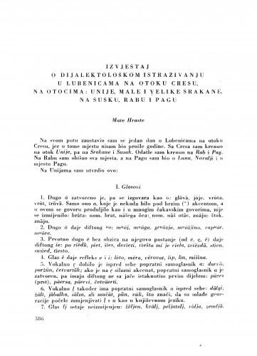 Izvještaj o dijalektološkom istraživanju u Lubenicama na otoku Cresu, na otocima: Unije, Male i Velike Srakane, na Susku, Rabu i Pagu / M. Hraste