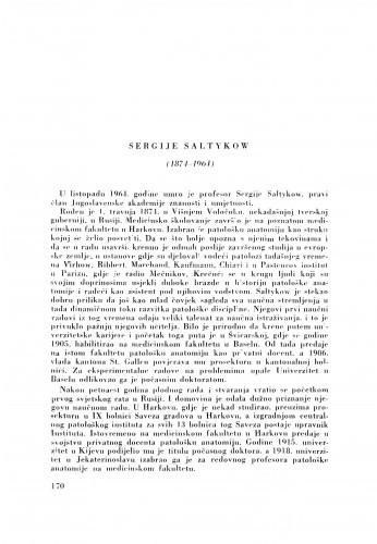 Sergije Saltykow (1874-1964) : [nekrolog] / I. Čupar