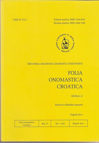 Folia onomastica Croatica / Hrvatska akademija znanosti i umjetnosti, Razred za filološke znanosti