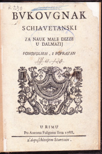 Bvkovgnak schiavetanski za nauk male dizze u Dalmazij