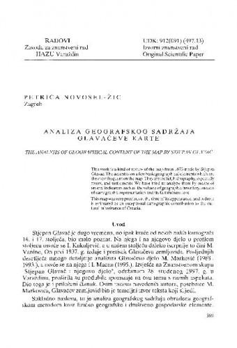 Analiza geografskog sadržaja Glavačeve karte / Petrica Novosel-Žic