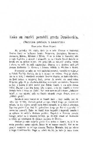 Kako su Suzići porobili grofa Draškovića : (narodna predaja u Banovini) / R. Bosnić