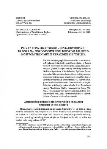 Prikaz konzervatorsko - restauratorskih radova na novootkrivenom rimskom reljefu s motivom tri nimfe iz Varaždinskih Toplica / Spomenka Vlahović