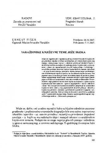 Varaždinske književne teme Jože Skoka / Ernest Fišer