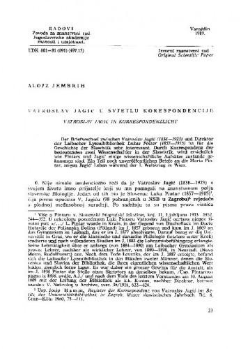 Vatroslav Jagić u svjetlu korespondencije / Alojz Jembrih