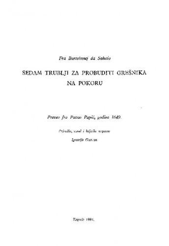Sedam trublji za probuditi grešnika na pokoru / Bartolomeo Cambi da Salutio; preveo fra Pavao Papić, godine 1649.; priredio, uvod i bilješke napisao Ignacije Gavran