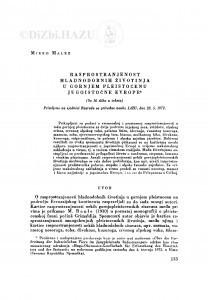 Rasprostranjenost hladnodobnih životinja u gornjem pleistocenu jugoistočne Evrope / M. Malez