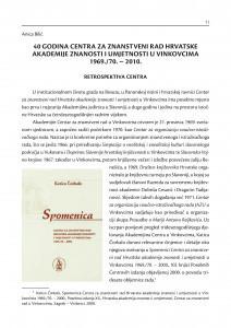 40 godina Centra za znanstveni rad Hrvatske akademije znanosti i umjetnosti u Vinkovcima 1969./70.-2010. / Anica Bilić