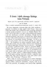 O životu i djelih slavnoga fiziologa Ivana Purkynje / B. Šulek