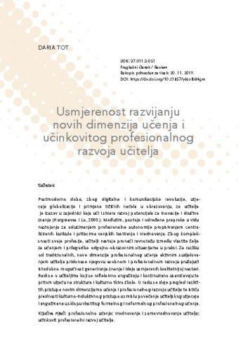 Usmjerenost razvijanju novih dimenzija učenja i učinkovitog profesionalnog razvoja učitelja / Daria Tot