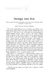 Etimologija imena Hrvat / L. Geitler