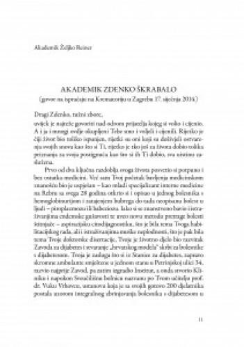 Akademik Zdenko Škrabalo : (govor na ispraćaju na Krematoriju u Zagrebu 17. siječnja 2014.) / Željko Reiner