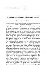 K sudbeno-lučbenomu dokazivanju arsena / G. Janeček