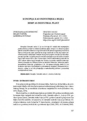 Konoplja kao industrijska biljka / Zvjezdana Augustinović, Milan Pospišil, Jasminka Butorac