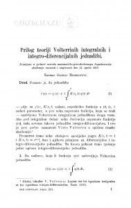Prilog teoriji Volterrinih integralnih i integro-diferencijalnih jednadžbi / S. Mohorovičić