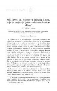 Neki izvodi za Majcenovu krivulju 3. reda, koja je projekcija jedne cirkularne kubične elipse / J. Božićević