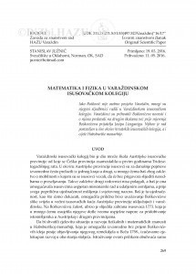 Matematika i fizika u Varaždinskom isusovačkom kolegiju / Stanislav Južnič
