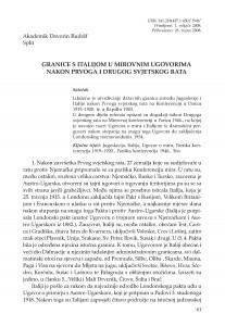 Granice s Italijom u mirovnim ugovorima nakon Prvoga i Drugog svjetskog rata / Davorin Rudolf