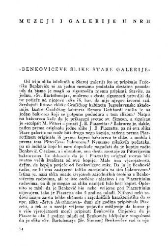 Benkovićeve slike Stare galerije / Z. Wyroubal