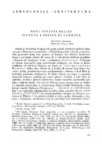 Novi votivni reljef Silvana i Dijane iz Glamoča / Ivo Bojanovski