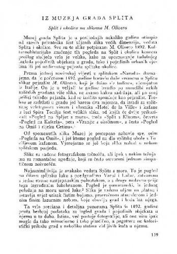Iz Muzeja grada Splita : Split i okolica na slikama M. Olivera : Split i okolica na slikama M. Olivera / Duško Kečkemet