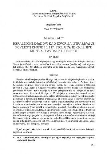 Heraldički znakovi kao izvor za istraživanje povijesti knjige 16. i 17. stoljeća iz Knjižnice Muzeja Slavonije u Osijeku / Mladen Radić
