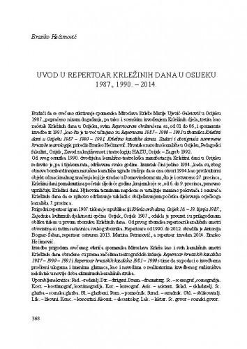 Uvod u Repertoar Krležinih dana u Osijeku 1987.,1990.-2014. / Branko Hećimović