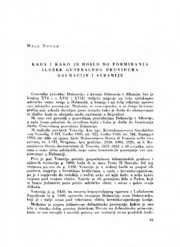 Kada i kako je došlo do formiranja službe generalnog providura Dalmacije i Albanije / Maja Novak