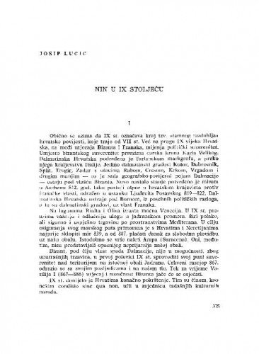 Nin u IX stoljeću / Josip Lučić