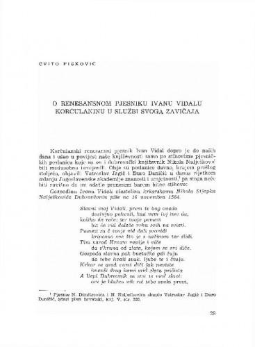 O renesansnom pjesniku Ivanu Vidalu Korčulaninu u službi svoga zavičaja / Cvito Fisković