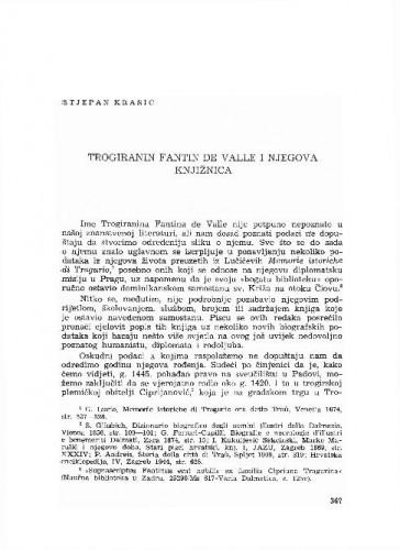 Trogiranin Fantin de Valle i njegova knjižnica / Stjepan Krasić