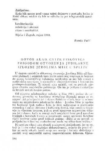 Govor akad. Cvite Fiskovića prigodom otvaranja jubilarne izložbe Jerolima Mišea u Splitu / Cvito Fisković